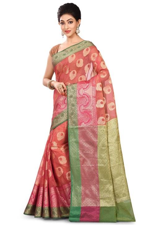 Banarasi Cotton Silk Saree in Fuchsia 7