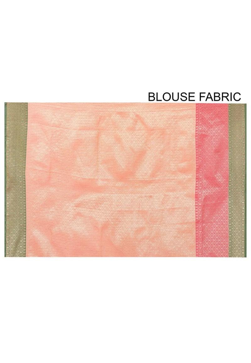 Banarasi Cotton Silk Saree in Orange 3