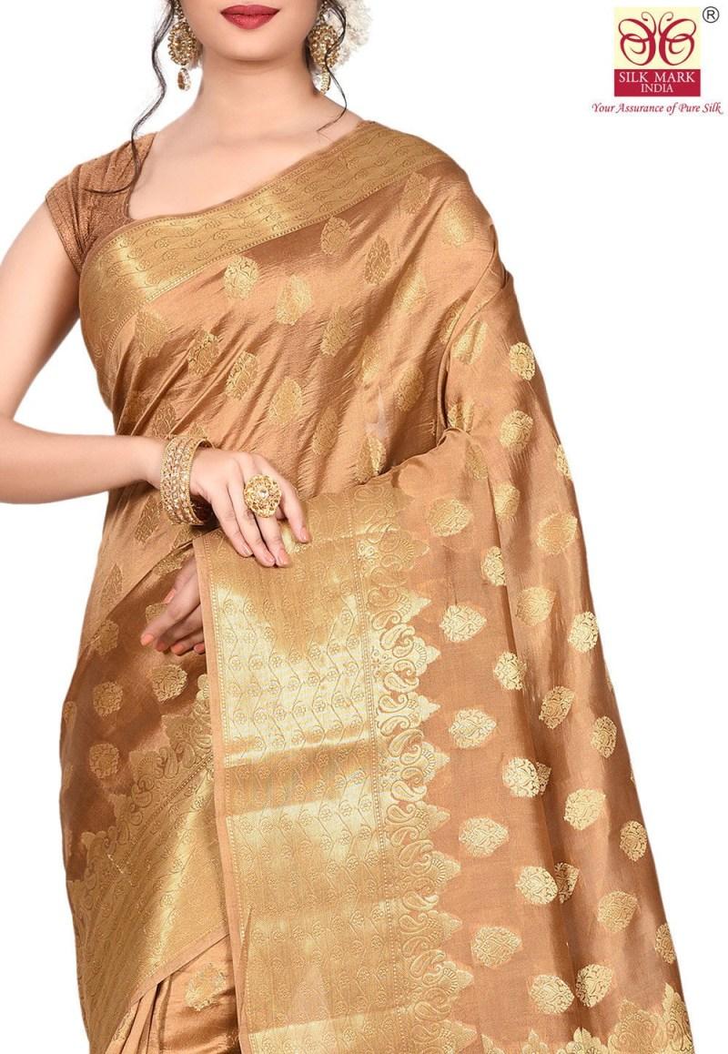 Pure Tussar Silk Banarasi Saree in Dark Beige 2