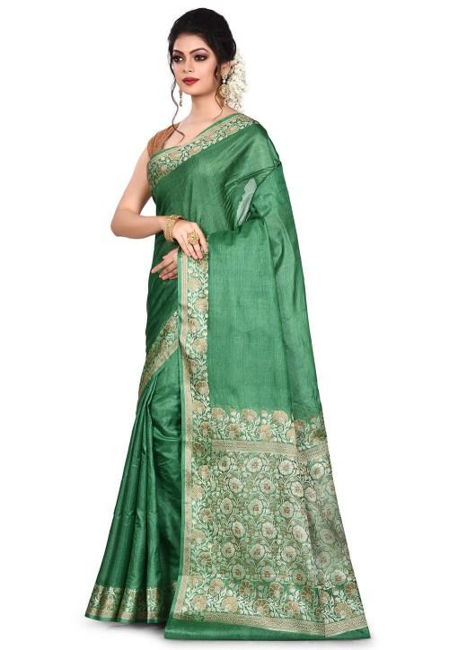 Pure Tussar Silk Banarasi Saree in Green 7