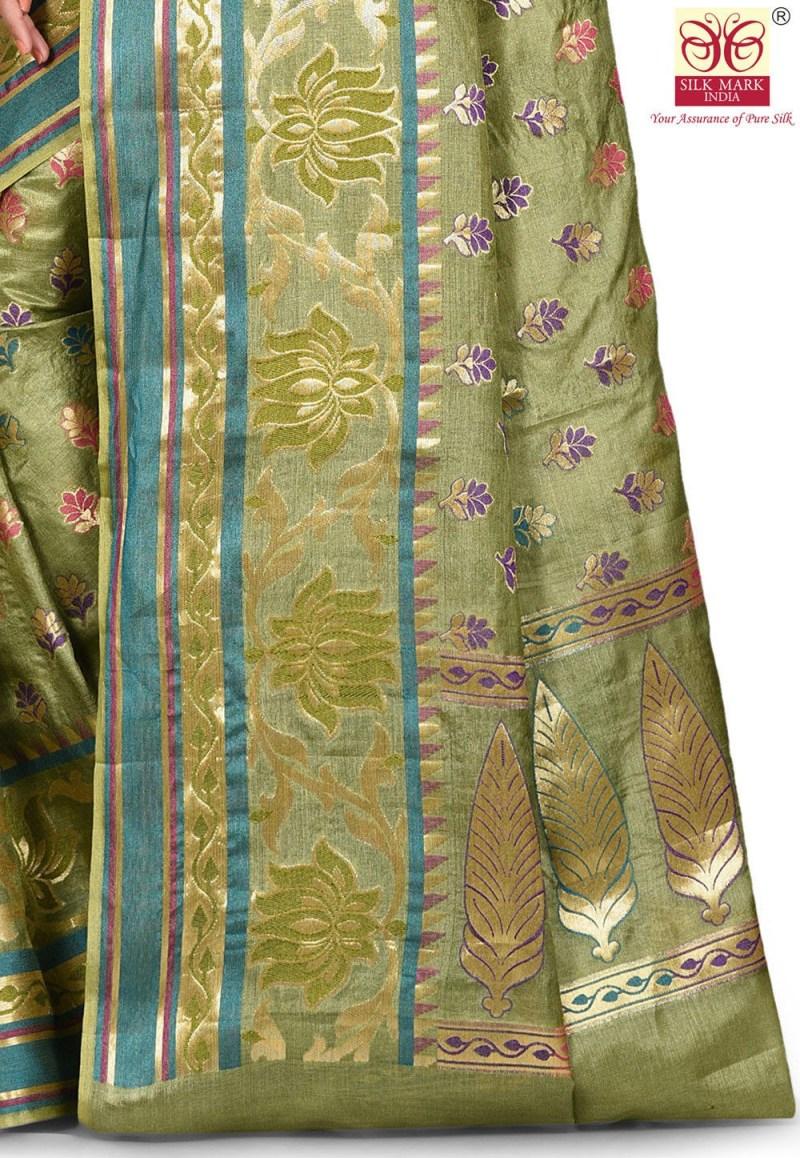 Pure Tussar Silk Banarasi Saree in Green 2