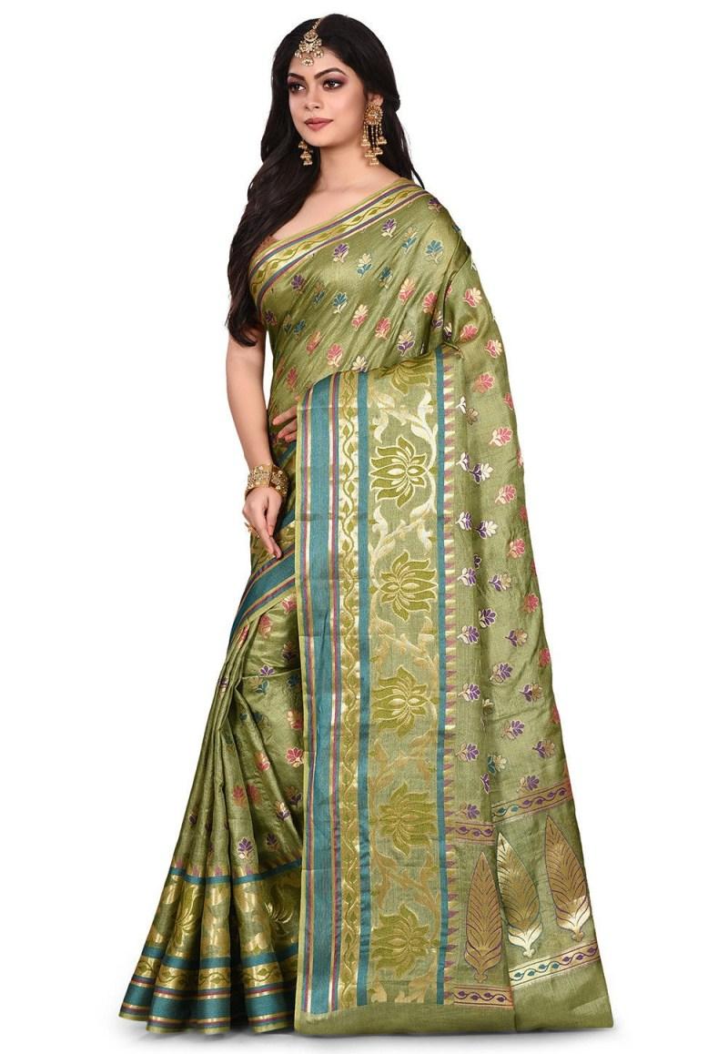 Pure Tussar Silk Banarasi Saree in Green 4