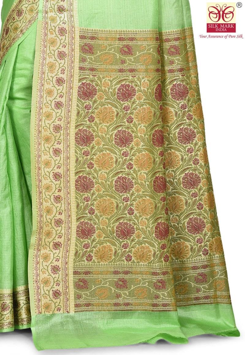Pure Tussar Silk Banarasi Saree in Light Green 2