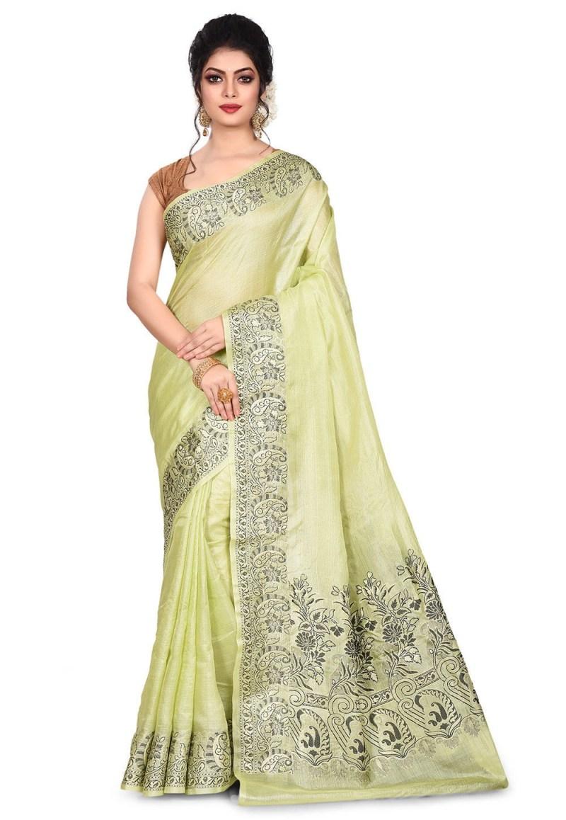 Pure Tussar Silk Banarasi Saree in Light Green 1
