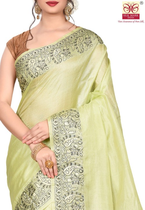 Pure Tussar Silk Banarasi Saree in Light Green 5