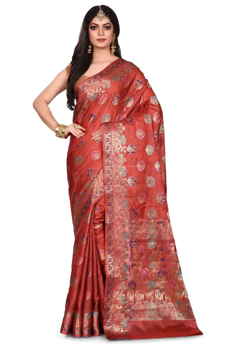 Pure Tussar Silk Banarasi Saree in Maroon 1
