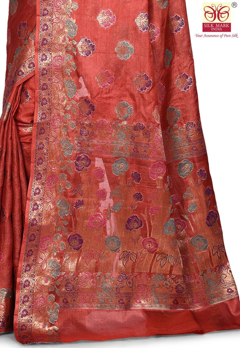 Pure Tussar Silk Banarasi Saree in Maroon 2