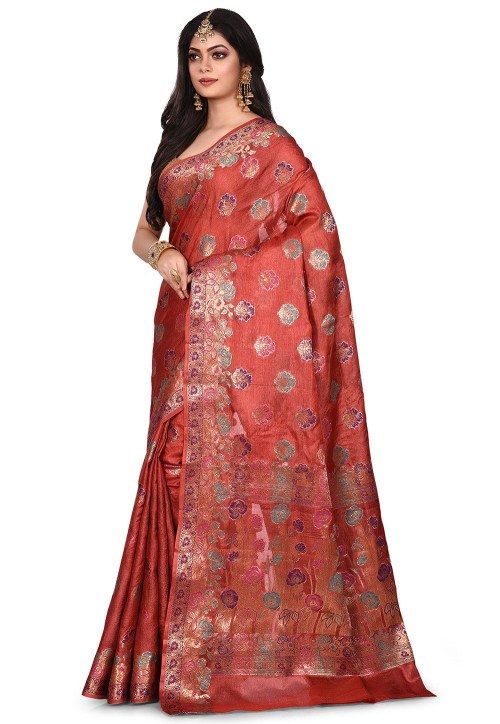 Pure Tussar Silk Banarasi Saree in Maroon 7