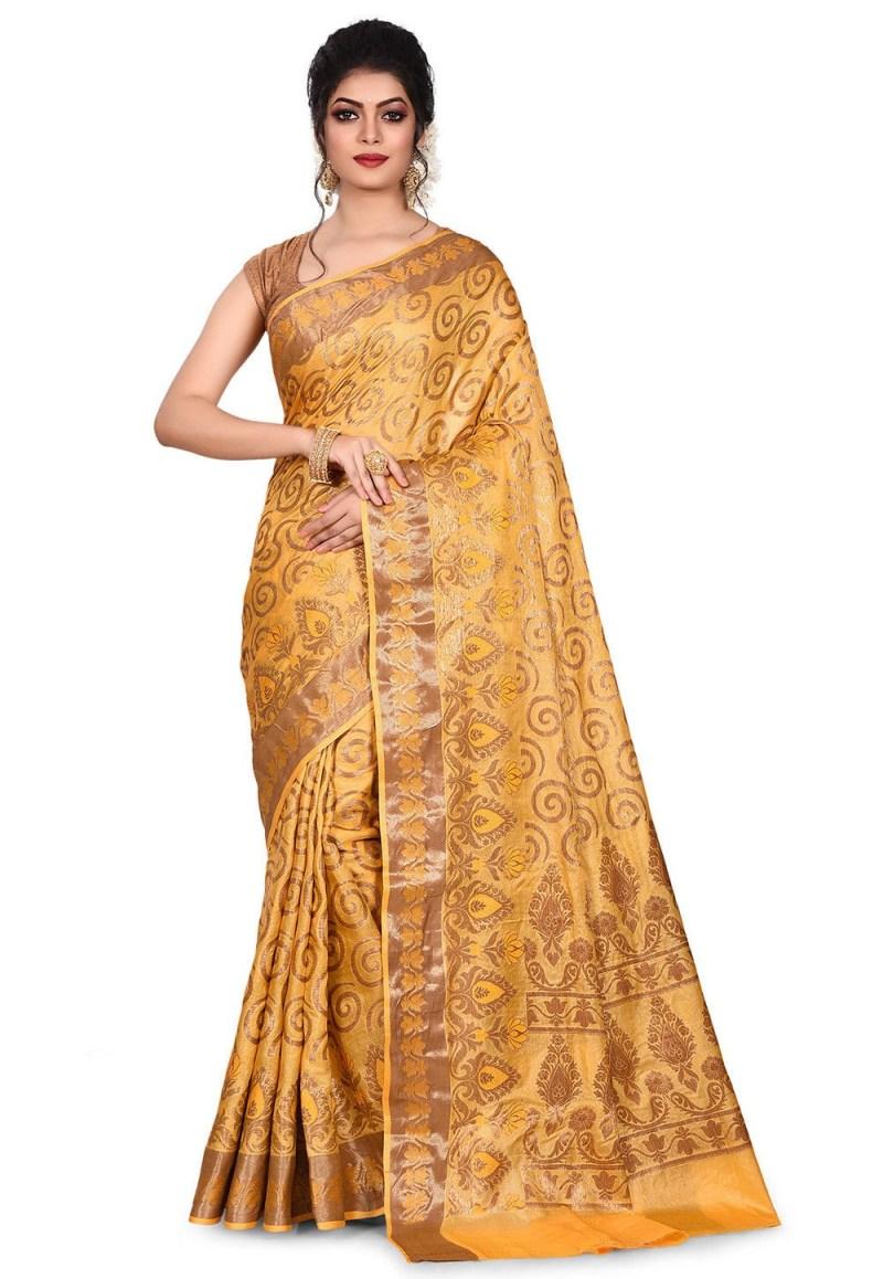 Pure Tussar Silk Banarasi Saree in Mustard 1