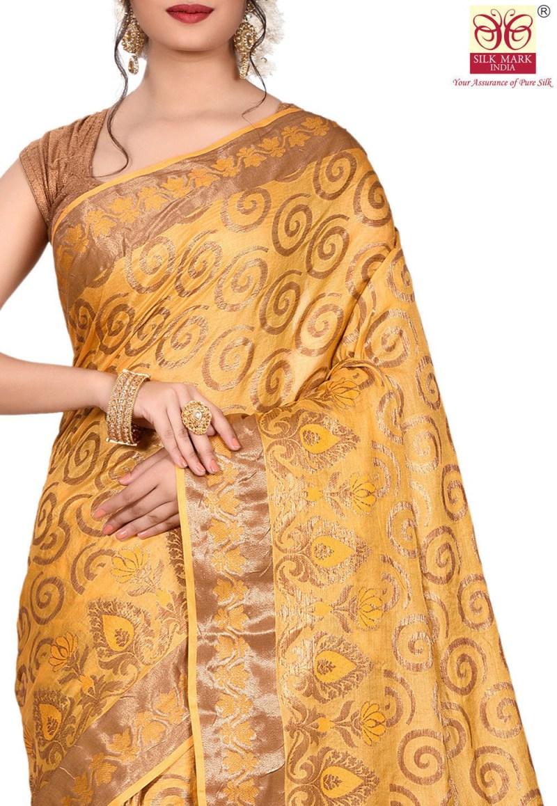 Pure Tussar Silk Banarasi Saree in Mustard 2