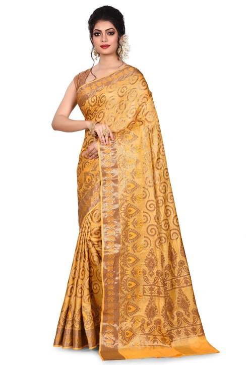 Pure Tussar Silk Banarasi Saree in Mustard 7