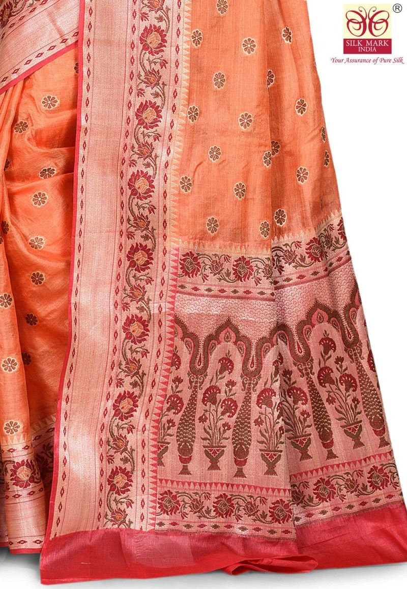 Pure Tussar Silk Banarasi Saree in Orange 2