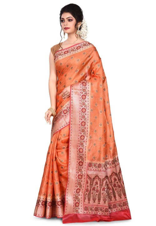 Pure Tussar Silk Banarasi Saree in Orange 7