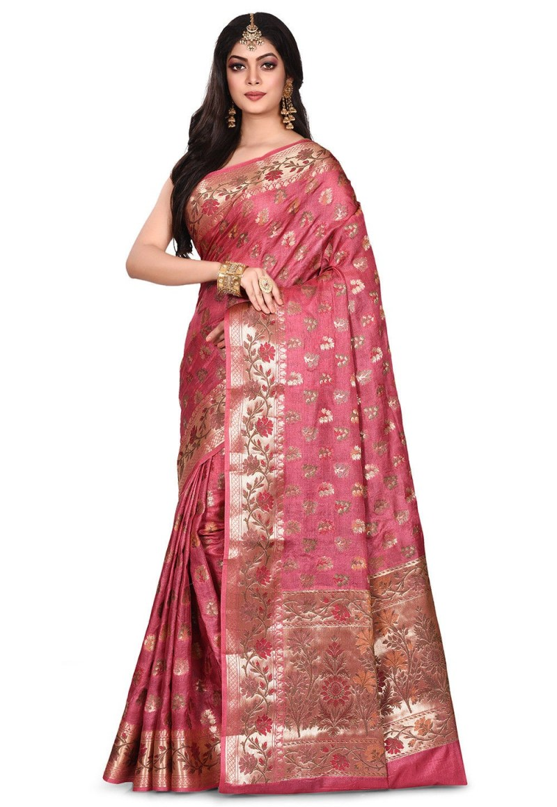 Pure Tussar Silk Banarasi Saree in Pink 4