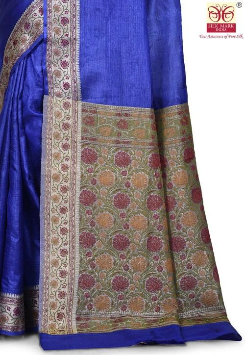 Pure Tussar Silk Banarasi Saree in Royal Blue 5