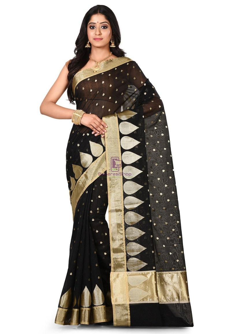 Banarasi Cotton Silk Saree in Black 1