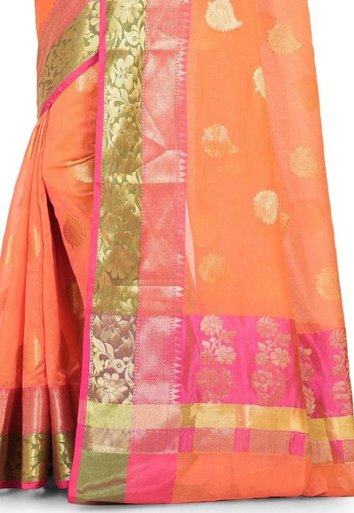 Banarasi Cotton Silk Saree in Dark Peach 5