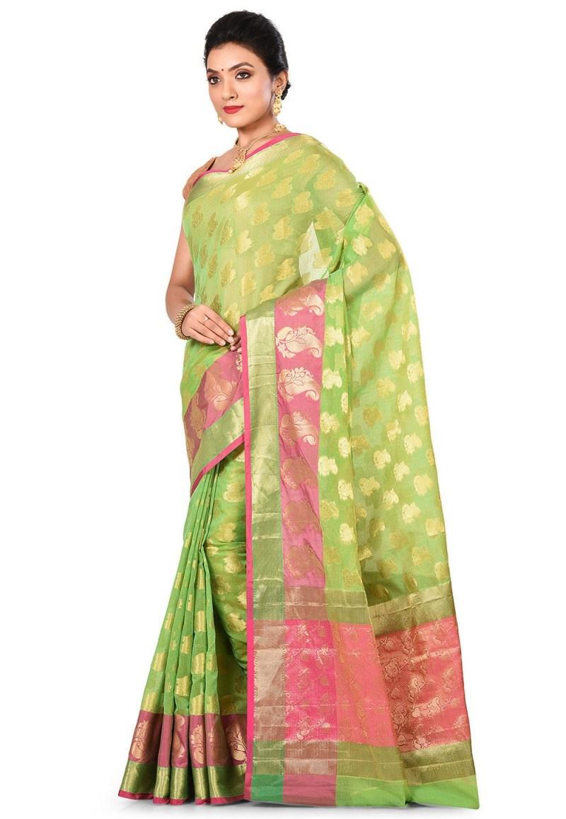 Banarasi Cotton Silk Saree in Green 4