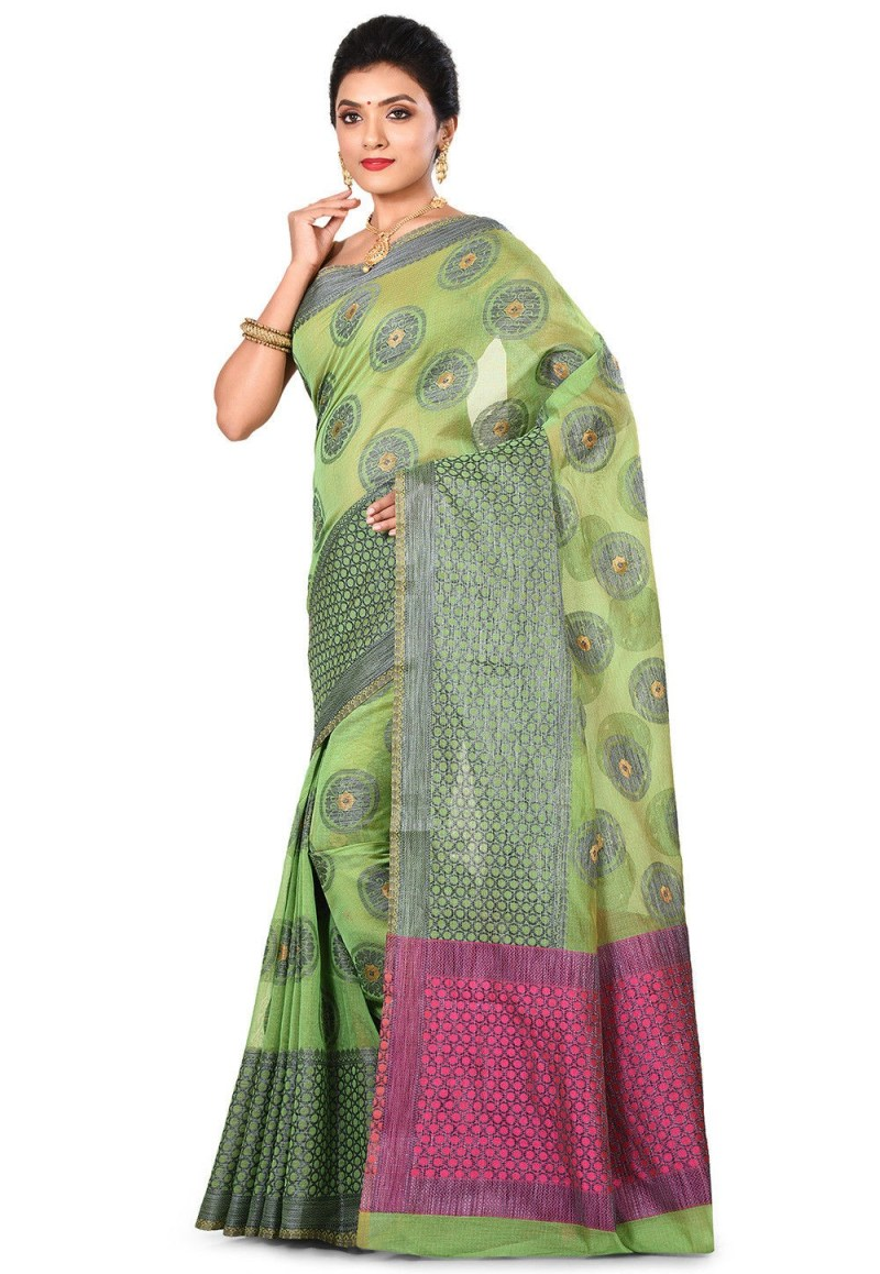 Banarasi Cotton Silk Saree in Green 4