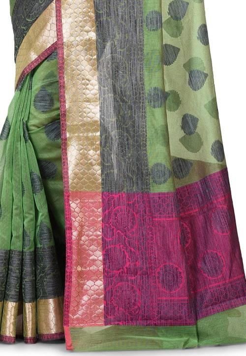 Banarasi Cotton Silk Saree in Green 5