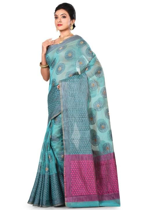 Banarasi Cotton Silk Saree in Light Dusty Blue 7