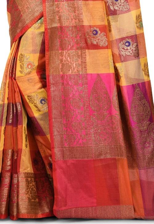 Banarasi Cotton Silk Saree in Multicolor 5