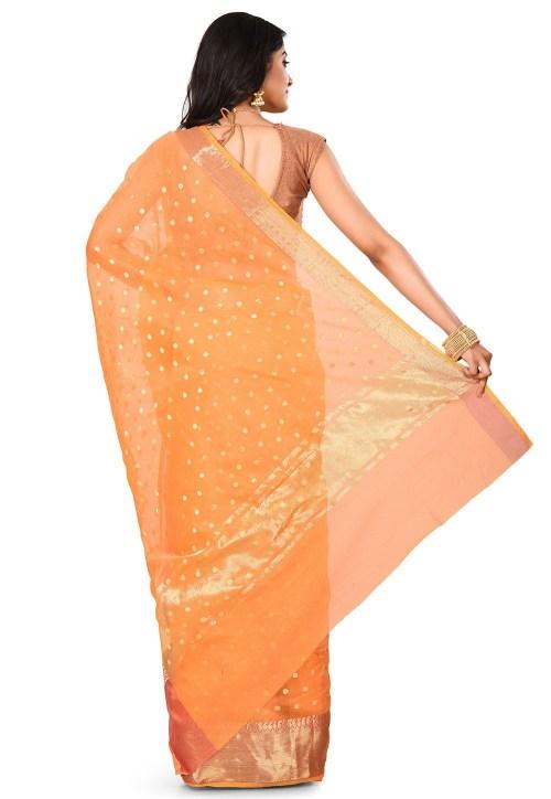 Banarasi Cotton Silk Saree in Mustard 9