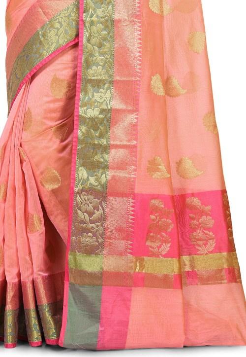 Banarasi Cotton Silk Saree in Peach Pink 5