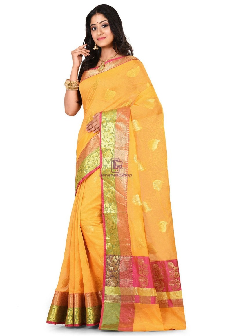 Banarasi Cotton Silk Saree in Yellow 4
