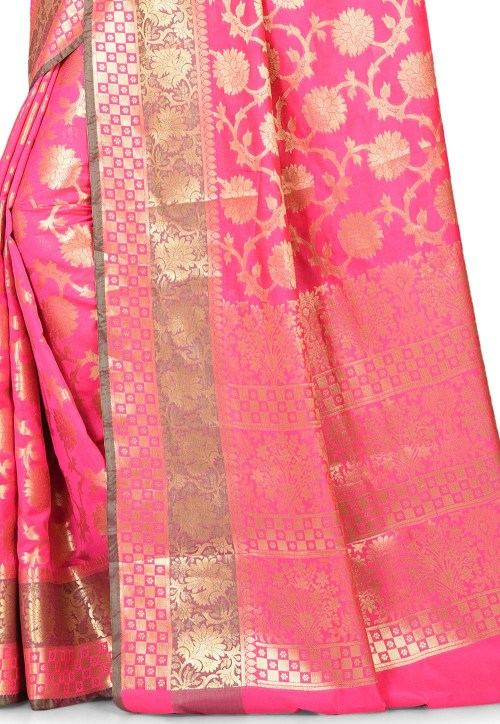 Woven Banarasi Art Silk Saree in Fuchsia 5