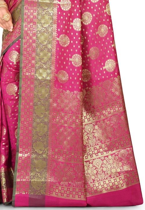 Woven Banarasi Art Silk Saree in Fuchsia 5