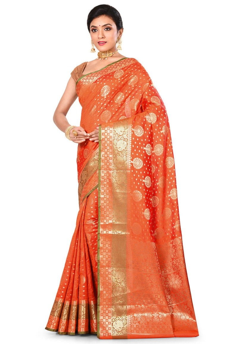 Woven Banarasi Art Silk Saree in Orange 4