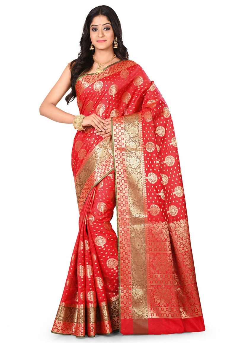 Woven Banarasi Art Silk Saree in Red 1