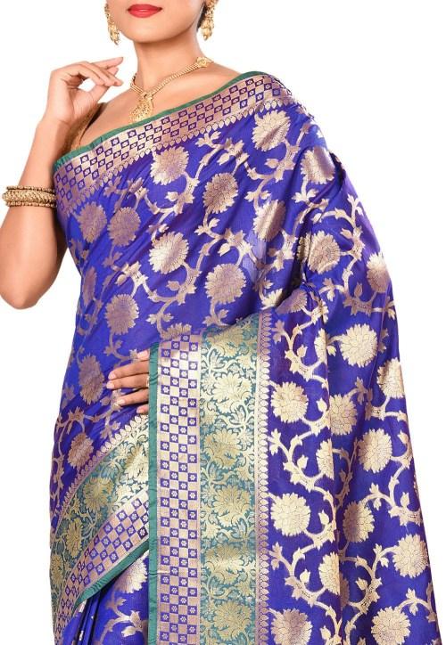 Woven Banarasi Art Silk Saree in Royal Blue 5