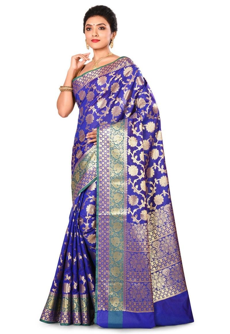 Woven Banarasi Art Silk Saree in Royal Blue 4