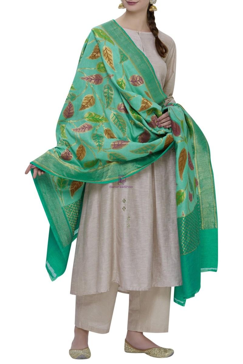 Handloom Banarasi Pure Muga Silk Dupatta in Turquoise 2