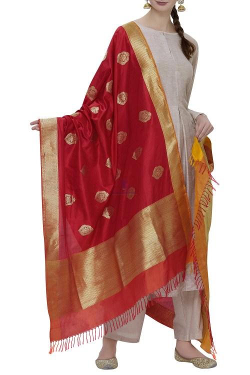 Handloom Banarasi Pure Katan Silk Dupatta in Red 3
