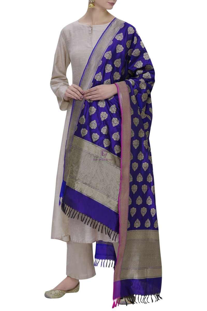 Handloom Banarasi Pure Katan Silk Dupatta in Blue 1