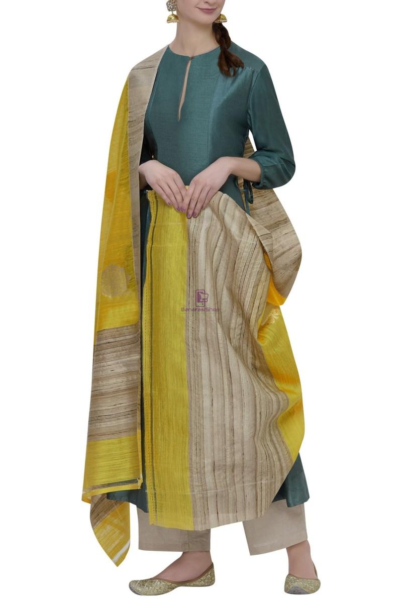 Banarasi Pure Dupion Silk Handloom Yellow Dupatta With Khichha Pallu 1