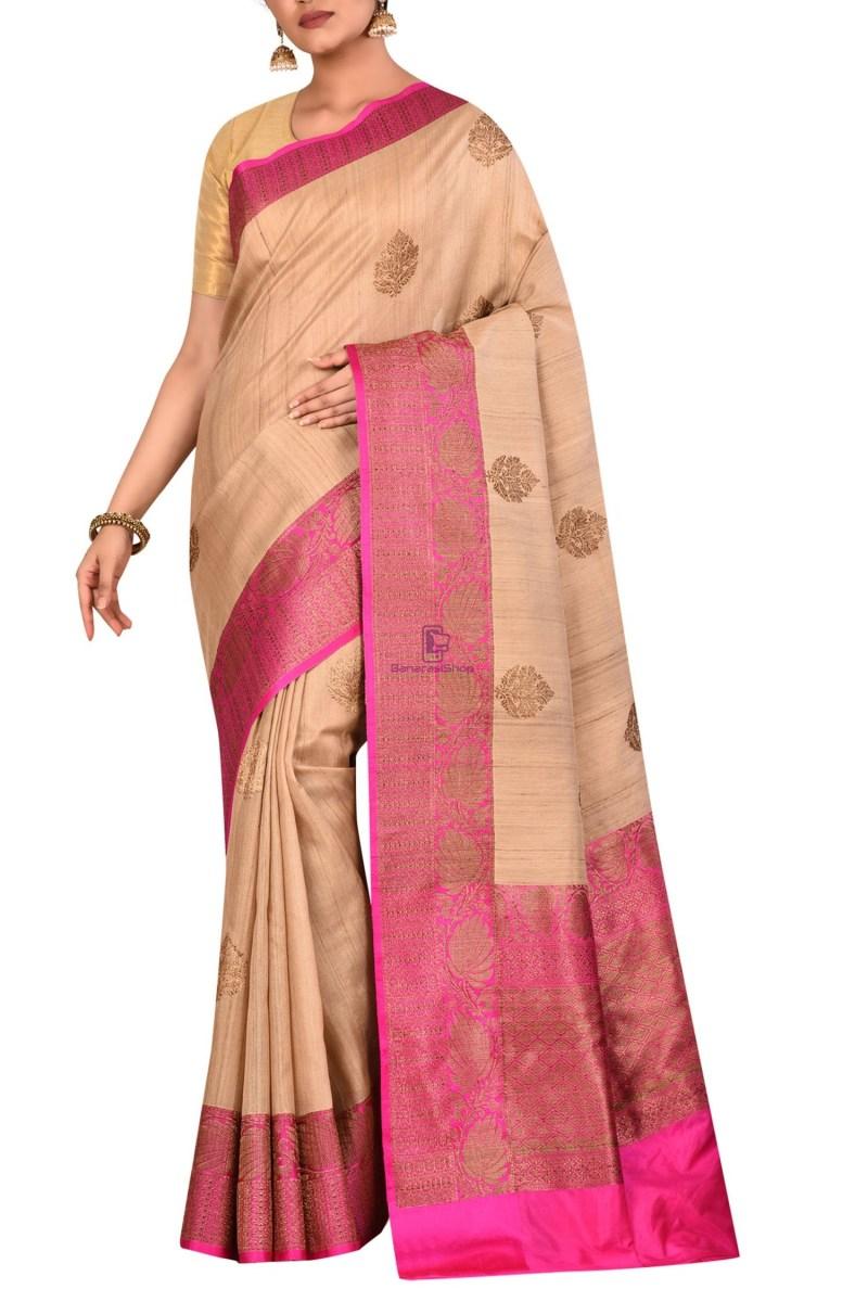 Pure Banarasi Tussar Handwoven Beige Silk Saree 1