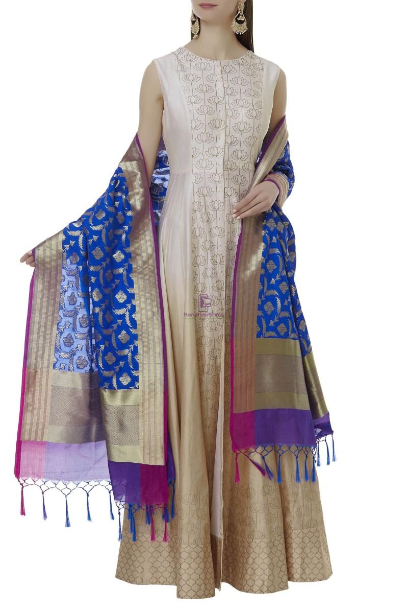 Woven Banarasi Art Silk Dupatta in Blue 1