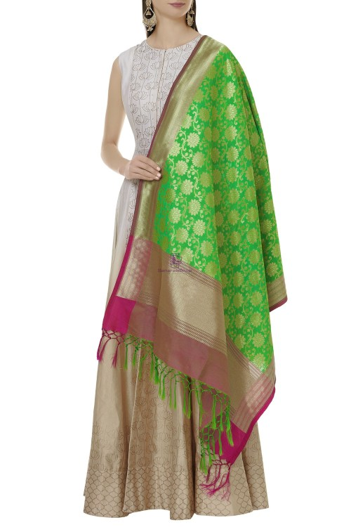 Woven Banarasi Art Silk Dupatta in Green 3