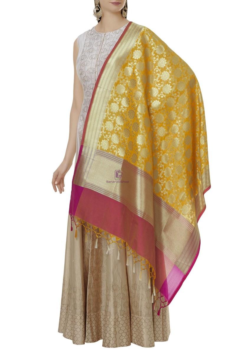Woven Banarasi Art Silk Dupatta in Yellow 1