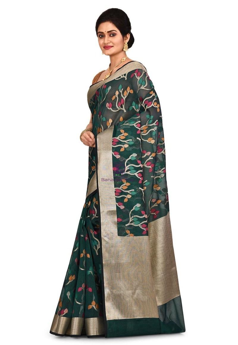 Woven Banarasi Cotton Silk Saree in Dark Teal Blue 4