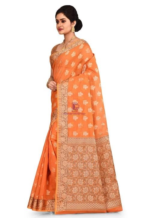Woven Banarasi Cotton Silk Saree in Orange 7