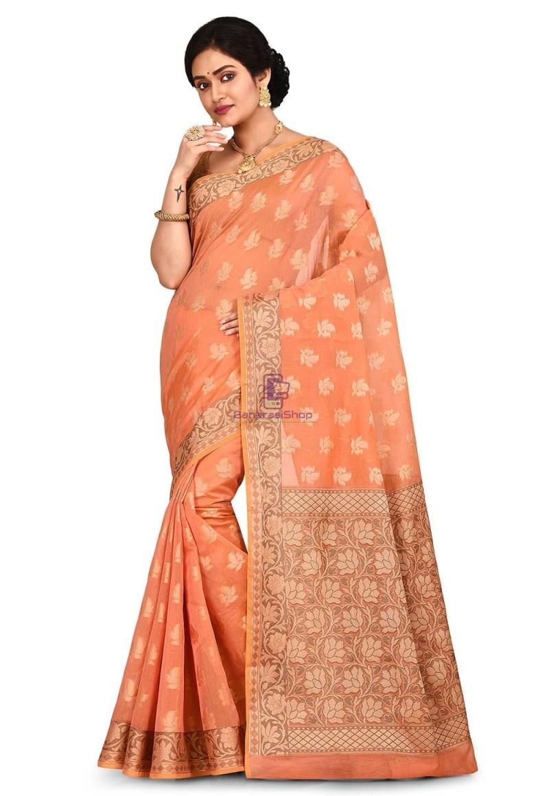 Woven Banarasi Cotton Silk Saree in Peach and Mustard Dual Tone 1