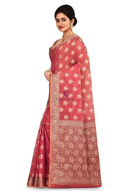 Woven Banarasi Cotton Silk Saree in Pink 7