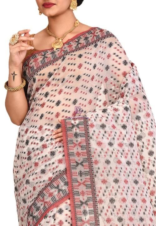 Woven Banarasi Cotton Silk Saree in White 5