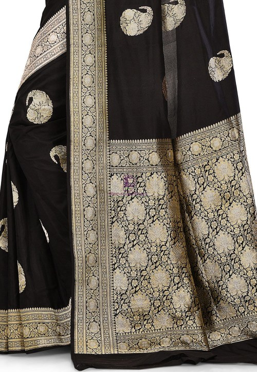 Pure Banarasi Katan Silk Handloom Saree in Black 6