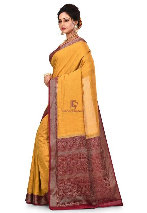 Pure Muga Silk Banarasi Saree in Mustard 8